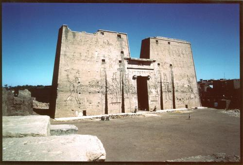 The pylon of the temple of Horus at Edfu.