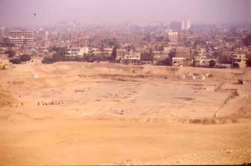 The Pyramid builders town at Giza from the Maadi Heights in February 1996..